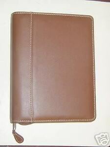 Collins Personal Organizer Portfolio Leather Tan 6 Rings 3 3 4 X 6 3 4 Inches