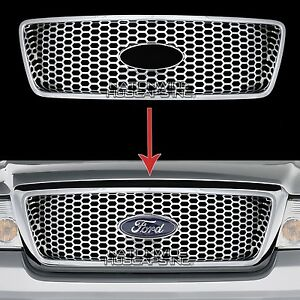 2004 2008 Ford F150 Chrome Snap On Grille Insert Grill Cover Overlay Honeycomb S