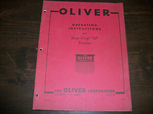 Original Oliver Operating Instructions Manual Row Crow 70 Tractor
