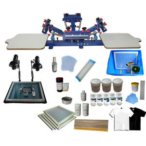 4 Color 2 Station Screen Printing Press Kit Simple Exposure Unit
