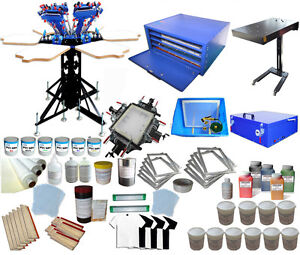 Full Set 6 Color Screen Printing Kit Press Printer Flash Dryer Exposure Diy Tool