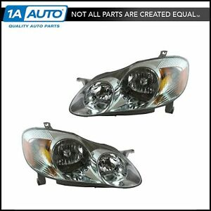 Front Headlights Headlamps Lights Lamps Pair Set For 03 04 Corolla S Model