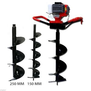 52cc Gas Power Earth One Man Post Fence Ice Hole Digger W 3 Drill Bits 4 6 10