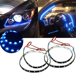 2x Blue 24 30 Smd 60cm Side Shine Glow Headlight Strip Lights For All Car
