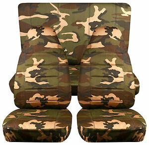 Fits Jeep Wrangler Tj Army Camo 31 Front rear Car Seat Covers cotton Material