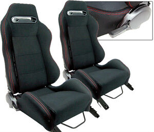 2 Black Red Stitch Racing Seat Reclinable All Ford