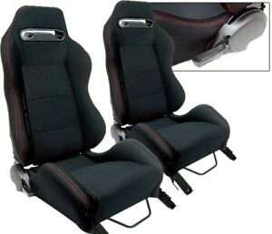 2 Black Red Stitch Racing Seats Reclinable Bmw New