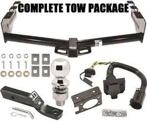 Complete Trailer Hitch Package W 4 way 7 way Wiring Bracket Tow Receiver