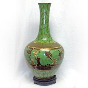 Rare And Unique Tall Large Bronze Handmade Green Cloisonne Monkey Vase W Stand