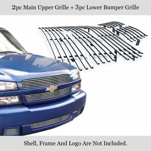 Fits 2003 2005 Chevy Silverado 1500 Ss Billet Grille Combo