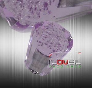 Universal 60mm Transparent Mt Purple Diamond Octagon Crystal Bubble Shift Knob