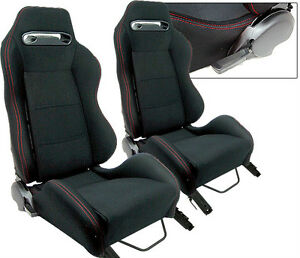 New 2 Black Cloth Red Stitch Slider Racing Seats Reclinable All Dodge