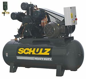 Schulz Air Compressor 20hp 3 phase 120 Gallons Tank 208 230 460 Volts