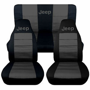 Jeep Wrangler Tj Front back Car Seat Covers Black charcoal W jeep so Cool