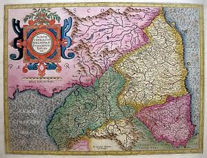 1595 1613 North England Wales Stunning Original Mercator Map W Gold Highlights