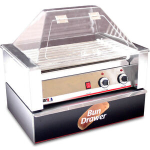 Commercial Hot Dog Roller Grill Cooker W Bun Roll Box Sneeze Guard Cover Top