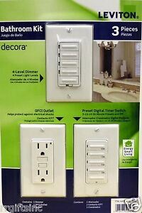 Leviton 3pc Switch Kit Dimmer Gfci Digital Timmer Elecrical Dimmer Lighting