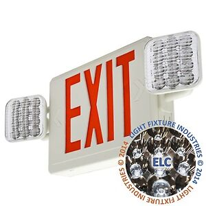 Red All Led Exit Sign Emergency Light Self Testing Combo Comborst2