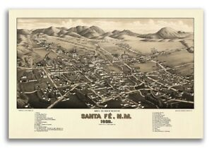 Bird S Eye View 1882 Santa Fe New Mexico Vintage Style City Map 16x24