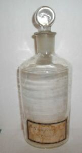 Antique Apothecary Lab Chemistry Bottle Jar Glass Stopper Label Dated 1908