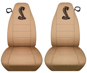Af 94 04 Ford Mustang Front Tan Car Seat Covers W Cobra Design Back Seat Avbl