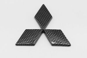 3d Fit Mitsubishi Front Rear Badge Emblem Logo Black Carbon Style Plastic Made