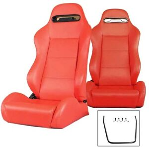 2 X Red Pvc Leather Racing Seats For 1964 2018 All Ford Mustang