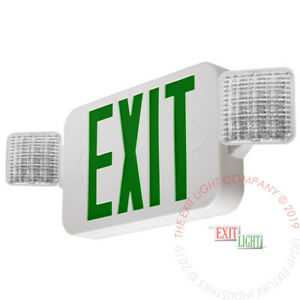 Green All Led Exit Sign Emergency Light Standard Combo Ul924 Fire Combog2