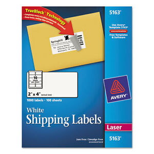 1000 Avery Shipping Labels Laser 2 X 4 White
