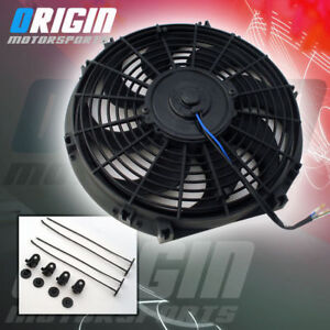14 Inch Radiator Electric Push Puller Thin Slim Cooling Fan 7 Amp Draw S Blade