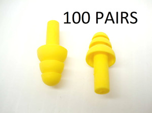 100 Pairs Of Reusable Yellow Polymer Ear Plug 4t151 100 Pairs