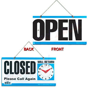 Open Back Closed Please Call Again Moveable Clock W Hanging 6 x11 5 Sign New
