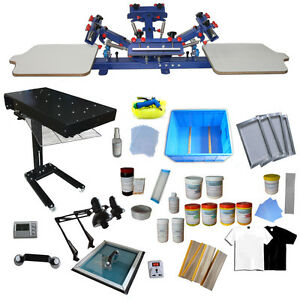 4 Color Screen Printing Press Kit Diy Printer Flash Dryer Ink Diy Squeegees