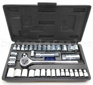 40 Piece Socket Tool Set Ratchet Set Metric Sae 1 4 3 8 Drive W Case