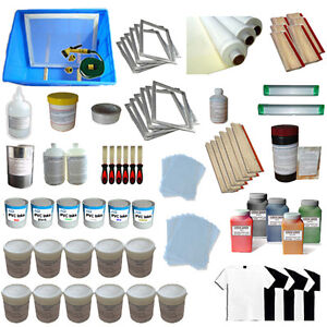 6 Color Silk Screen Printing Materials Accessories Kit Squeegee Ink Supply