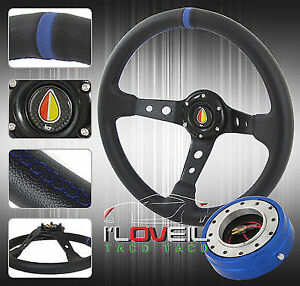 350mm Black Track Racing Steering Wheel W Blue Slim Quick Release