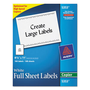 Avery Self adhesive Full sheet Shipping Labels For Copiers 8 1 2 X 11 100 bx