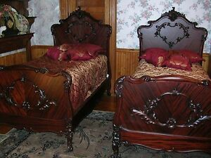 Antique R J Horner French Mahogany Twin Bed Set With High Boy Dresser The Best