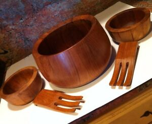 Vintage Mid Century Danish Modern Dansk Era Sweden Teak Wood Salad Bowl Set