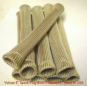 Fire Shield Tan natural 8 Long Spark Plug Wire Boot Heat Protectors 8 Cylinder