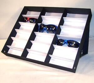 2 Horizontal Portable Sunglass Covered 18 Pair Display Tray Standup Eyeglass New