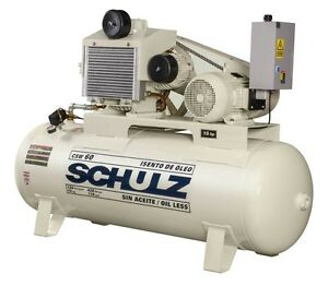 Schulz Air Compressor 15hp 120 Gallon Tank Oil Free
