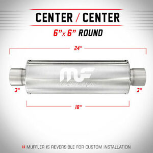 Magnaflow 3 0 3 3 Inch Inlet Outlet Stainless Steel Ss 6 Round Muffler