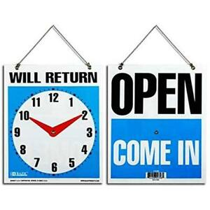 2 Open Come In Back Will Return Movable Clock W Hanging Chain 7 5 x 9 Sign