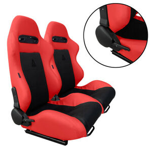 2 X Black Red Racing Seats Reclinable For All Ford Mustang