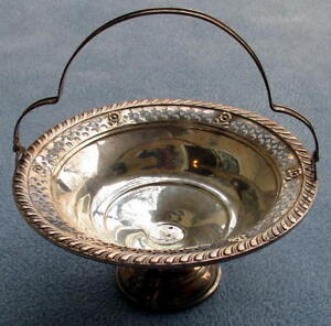 Gruen Sterling Silver Pierced Rim Footed Handled Basket