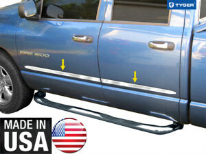 For 02 08 Dodge Ram 1500 03 09 Ram 2500 3500 Quad Crew Cab Body Side Molding 4pc
