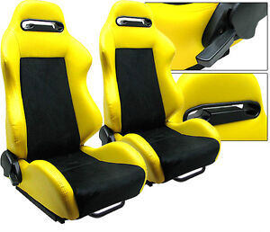 2 Black Yellow Racing Seat Reclinable Ford Mustang Cobra