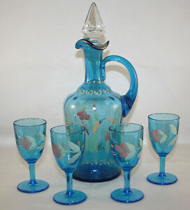 Victorian 1890 S Blue Enamel Decanter And 4 Cordials Dugan Coudersport