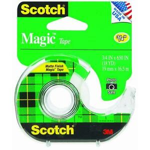 144 Pk 3m 3 4 X 650 Scotch Magic Transparent Tape W dispenser 122